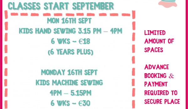 Weekly Sewing, Knitting & Crochet Classes